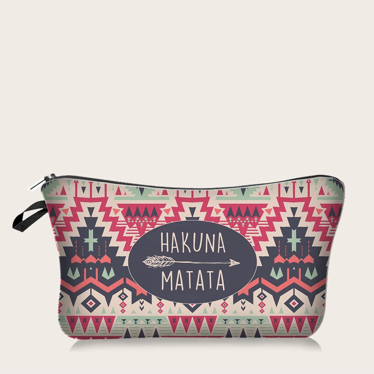1шт косметическая сумка с племенным принтом