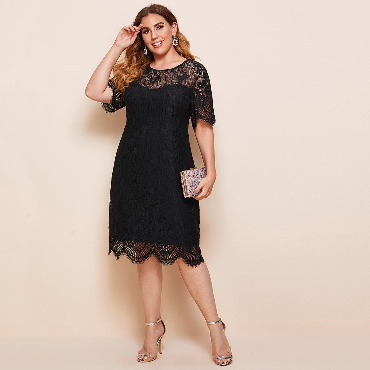 Кружевное платье размера плюс с фестончатой отделкой