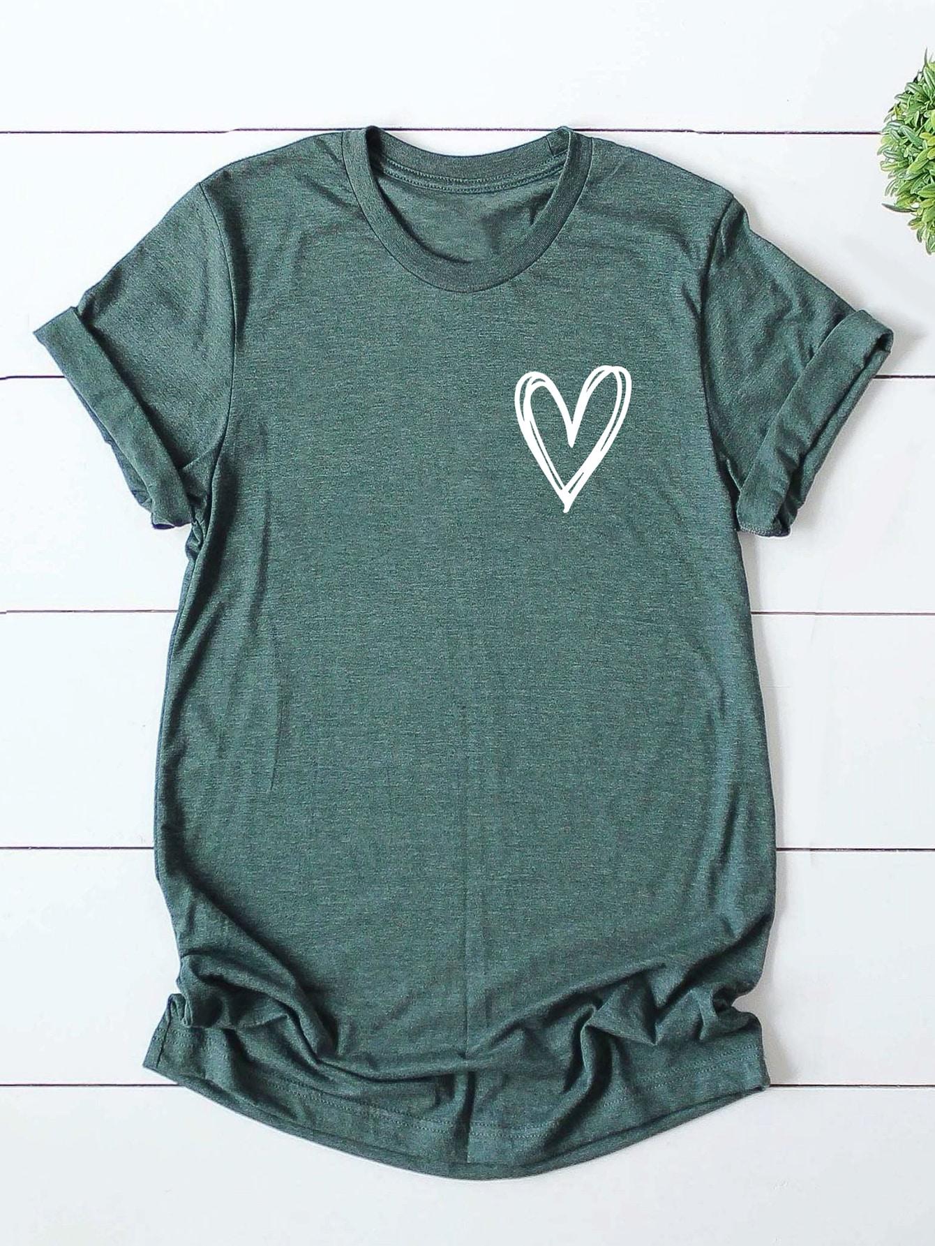 Plus Heart Print Short Sleeve Tee thumbnail