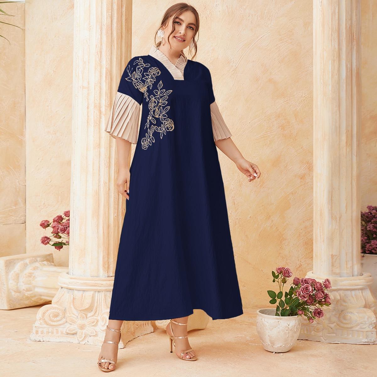 Темно-синий Вышивка Цветочный Скромный Платья размер плюс