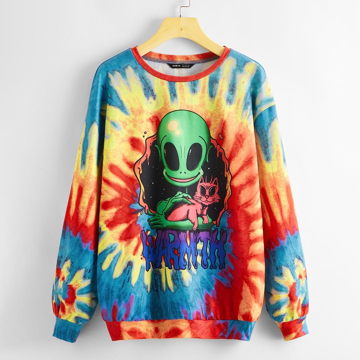 Разноцветный пуловер с оригинальным принтом
