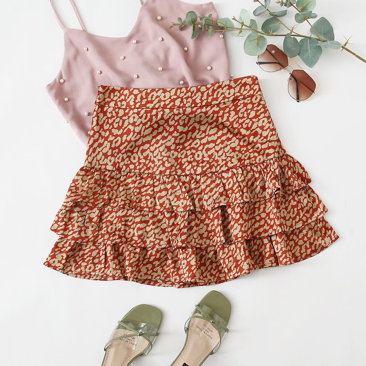 Многослойная юбка с леопардовым принтом