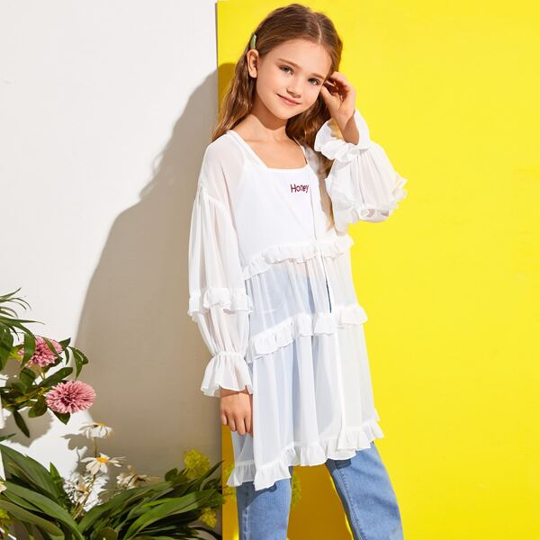 Girls Ruffle Trim Semi Sheer Kimono, White