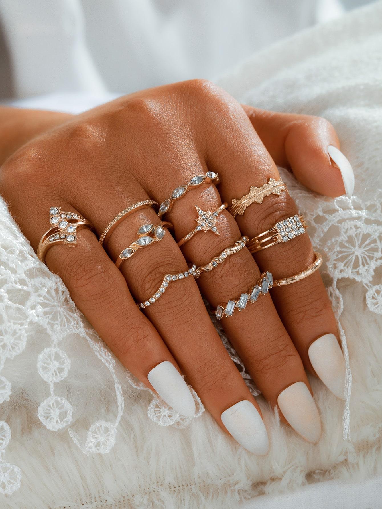 11pcs Rhinestone Decor Ring thumbnail