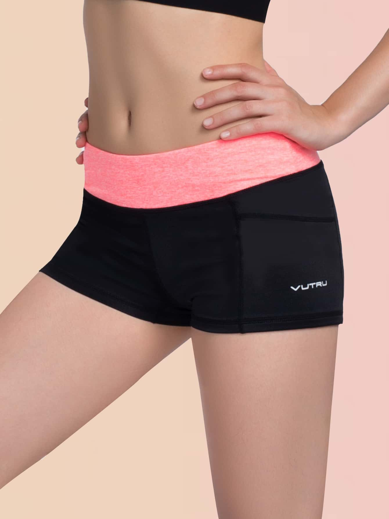 Letter Graphic Colorblock Wide Waistband Sports Shorts thumbnail