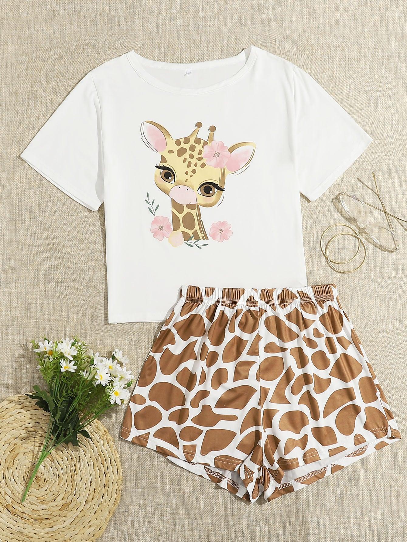 Giraffe And Floral Print Pajama Set thumbnail