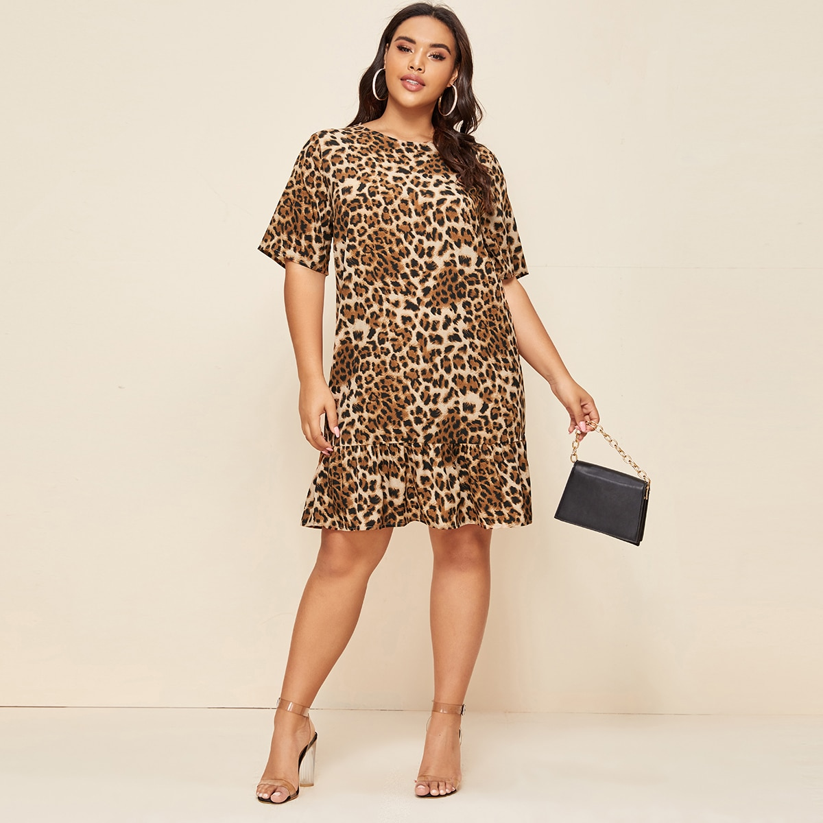 Многихцветные Низ-оборка Леопардовый Повседневный Платья размер плюс