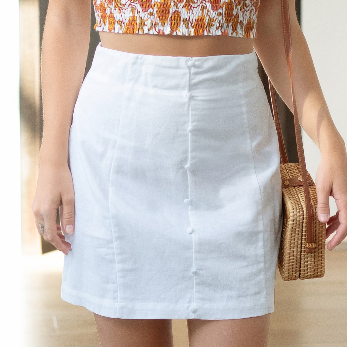 Button Detail High Waisted Mini Skirt, SHEIN  - buy with discount