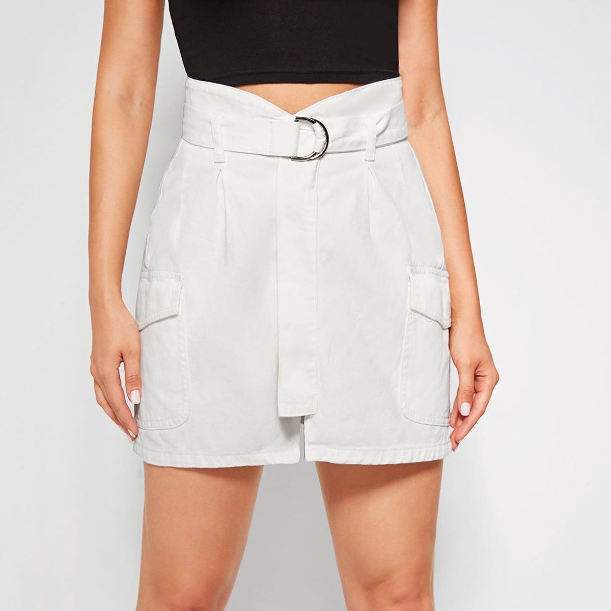 Джинсовая юбка с поясом и карманом