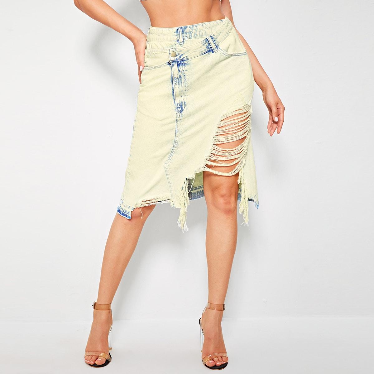 Рваная асимметричная джинсовая юбка