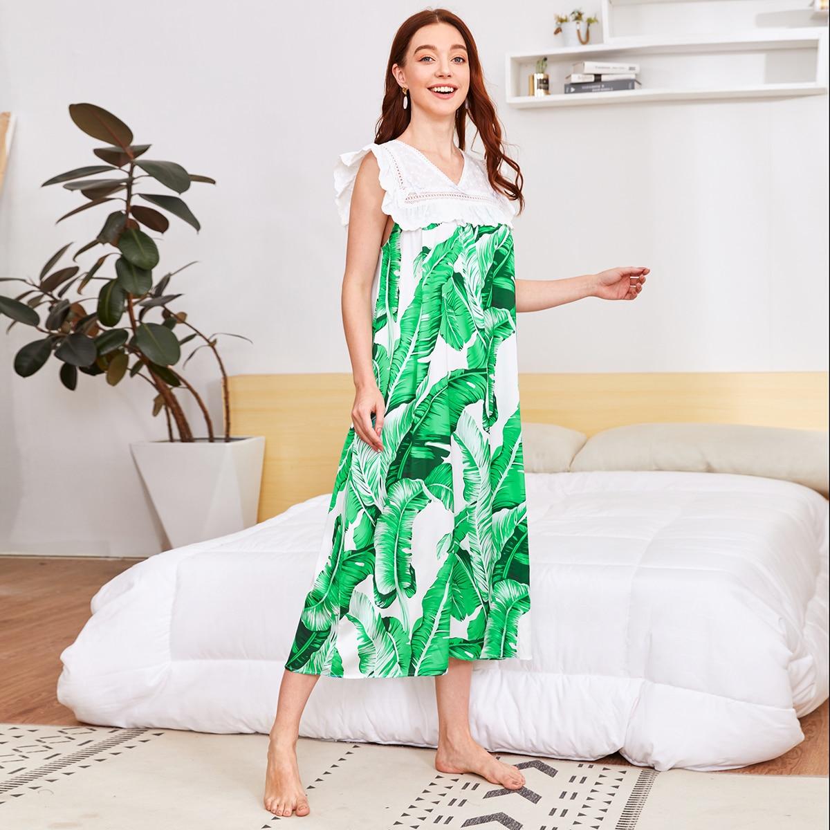 Многоцветный с воланами тропический милый ночная рубашка