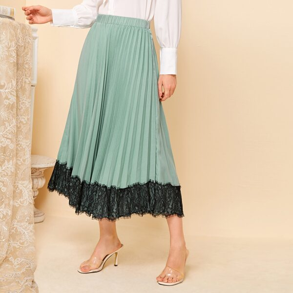 Contrast Lace Hem Pleated Skirt, Mint green
