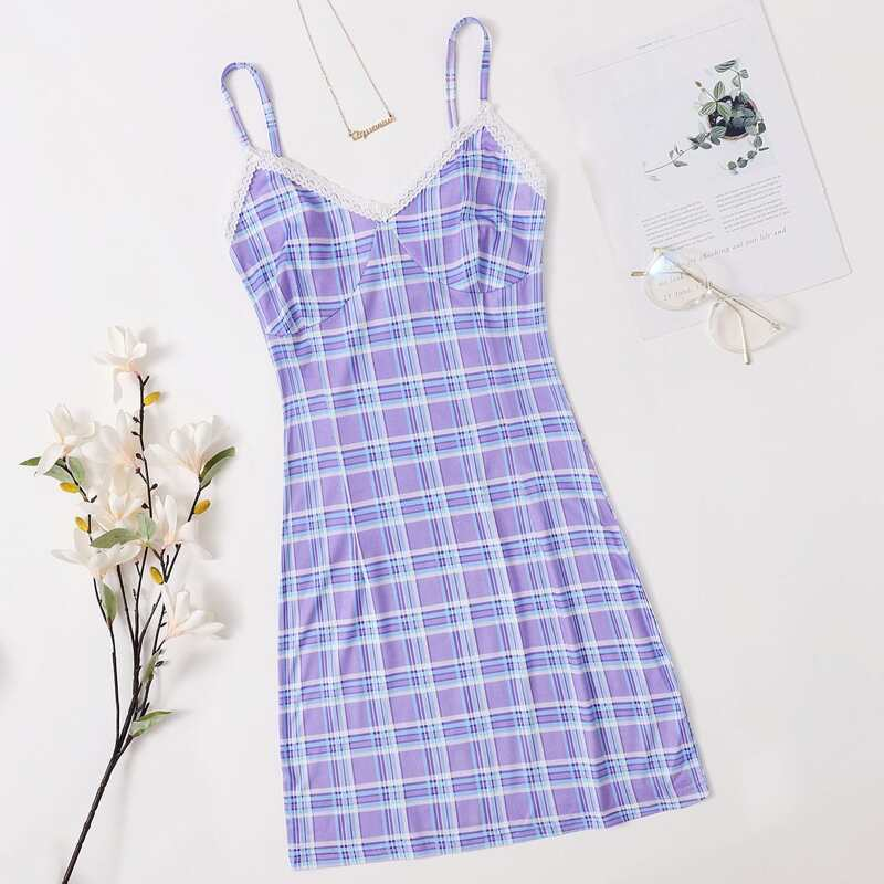Plaid Lace Trim Cami Nightdress, Lilac purple