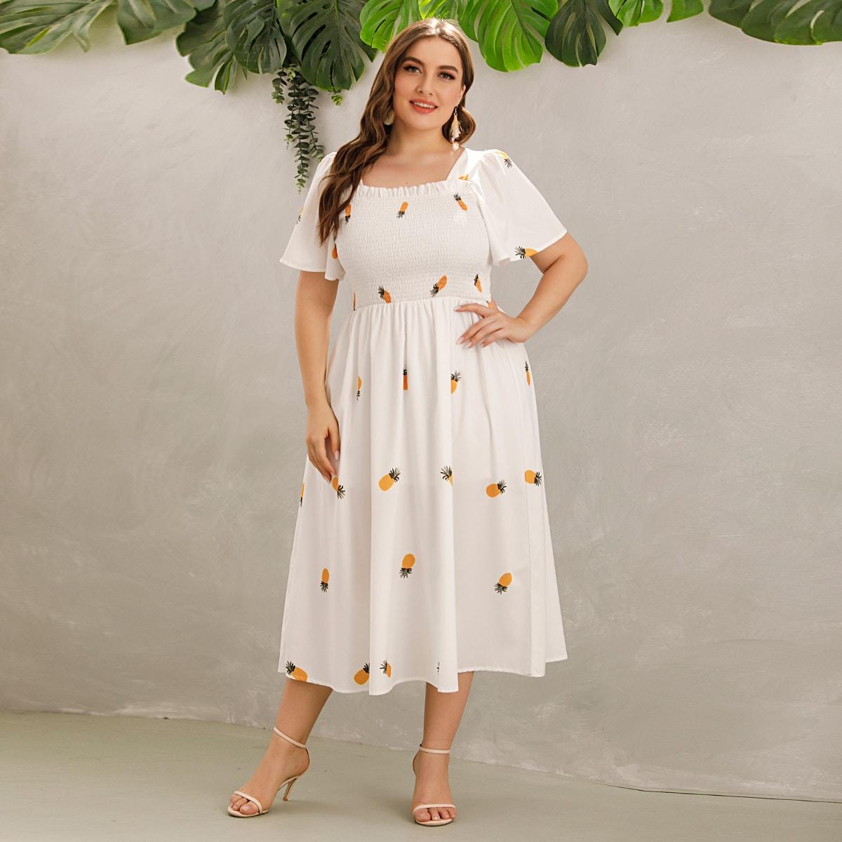 Белый Галстук на спине Фрукты и овощи Элегантный Платья размер плюс от SHEIN