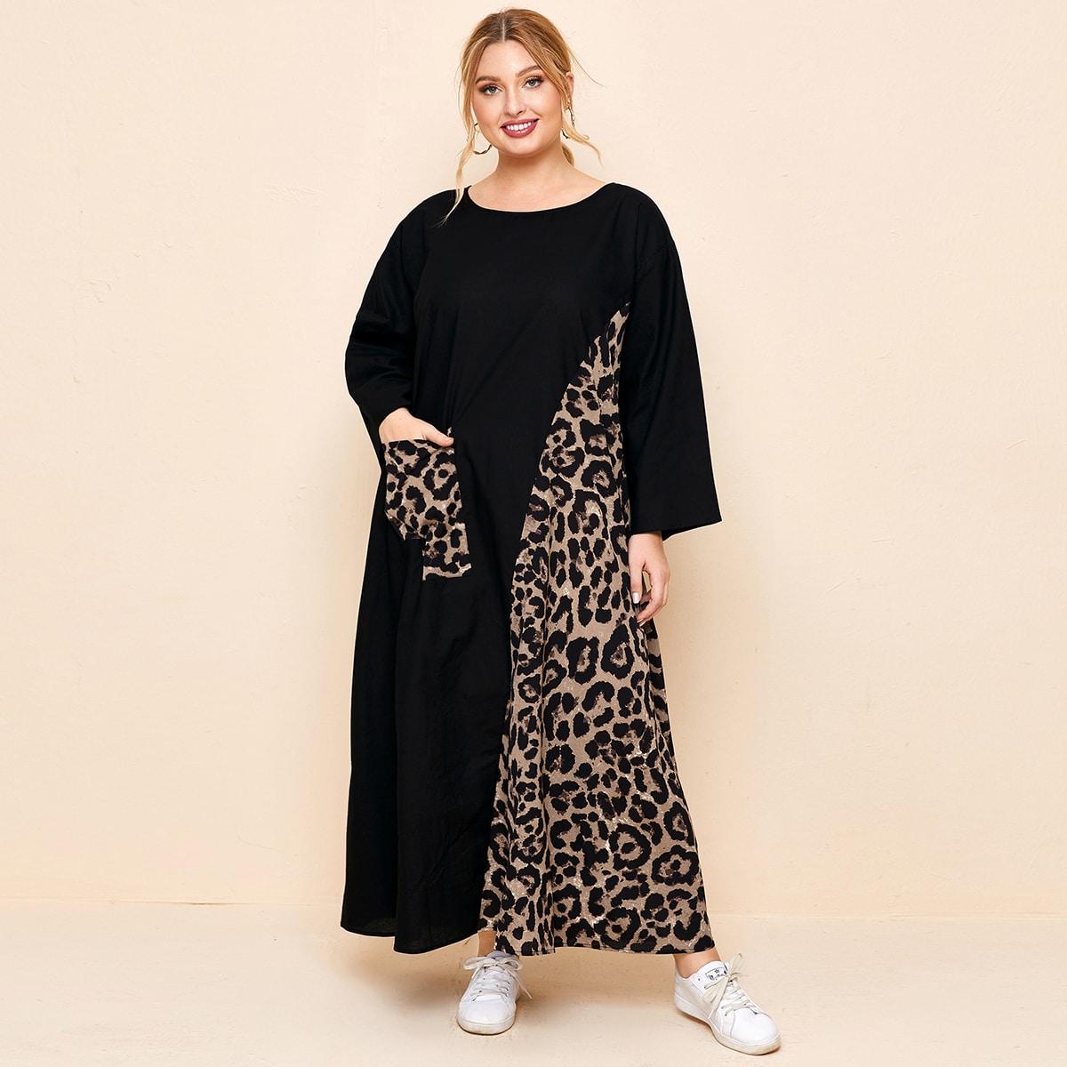 Контрастное платье размера плюс с карманом и леопардовым узором