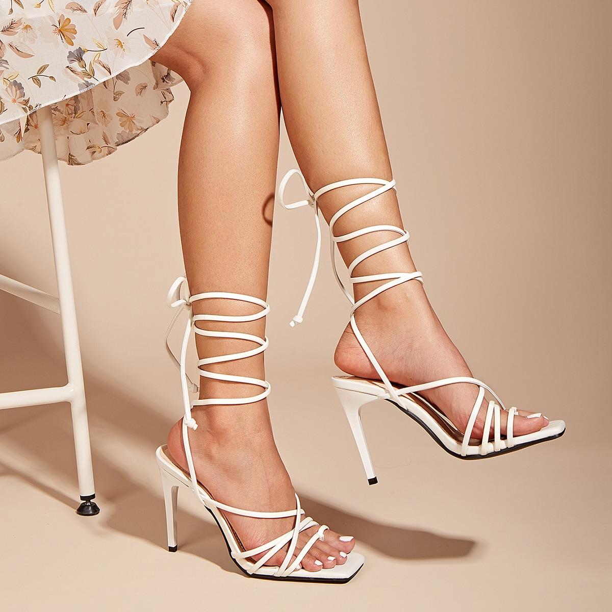 shein sandali con tacchi a spillo e nodo a gamba donna