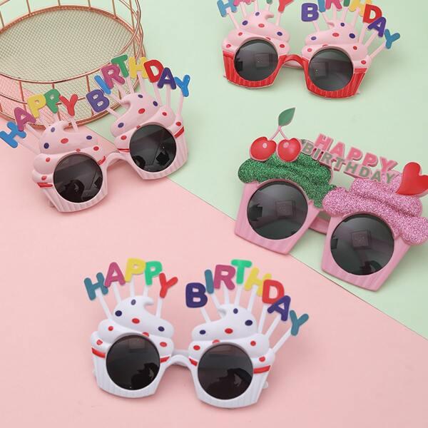 1pc Birthday Decorative Random Color Sunglasses, Multicolor