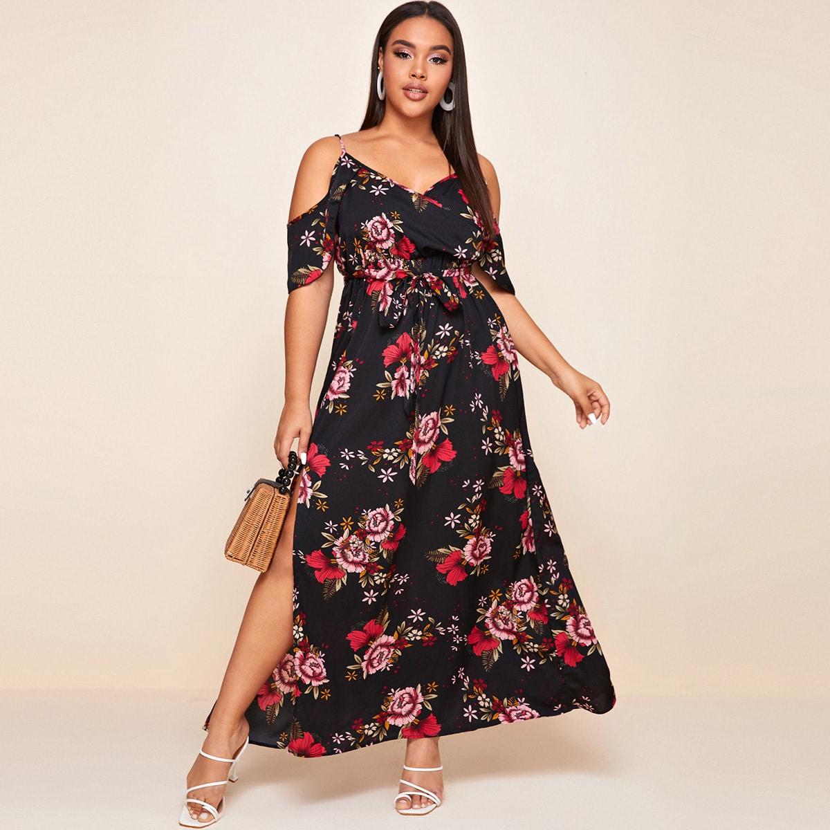 Платье размера плюс с цветочным принтом, разрезом и открытыми плечами