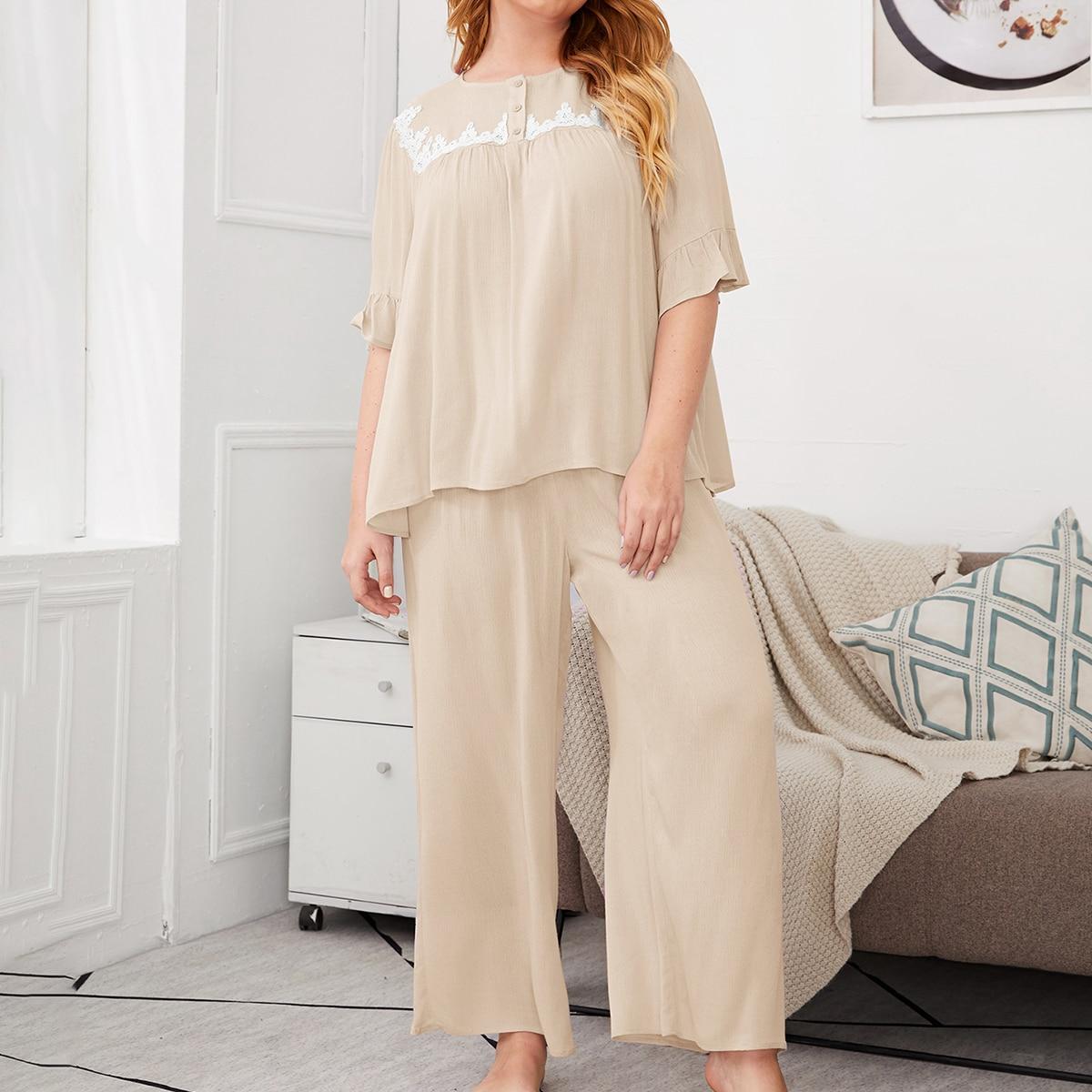 shein Beige Schattig Grote maten pyjama sets Rimpeling