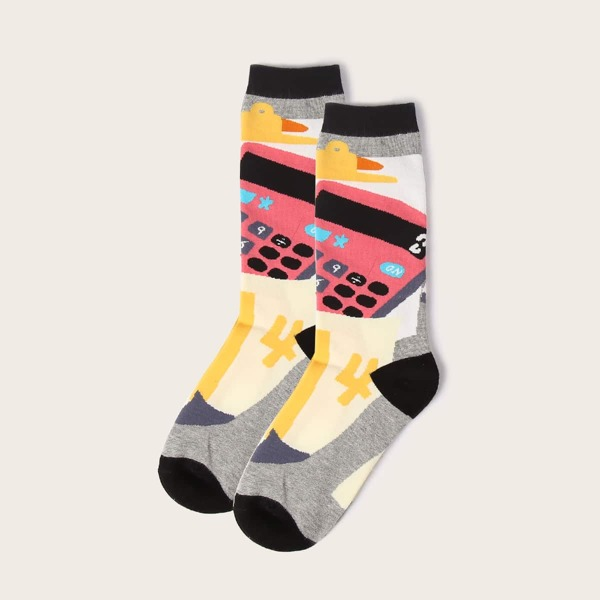 Cartoon Graphic Socks, Grey