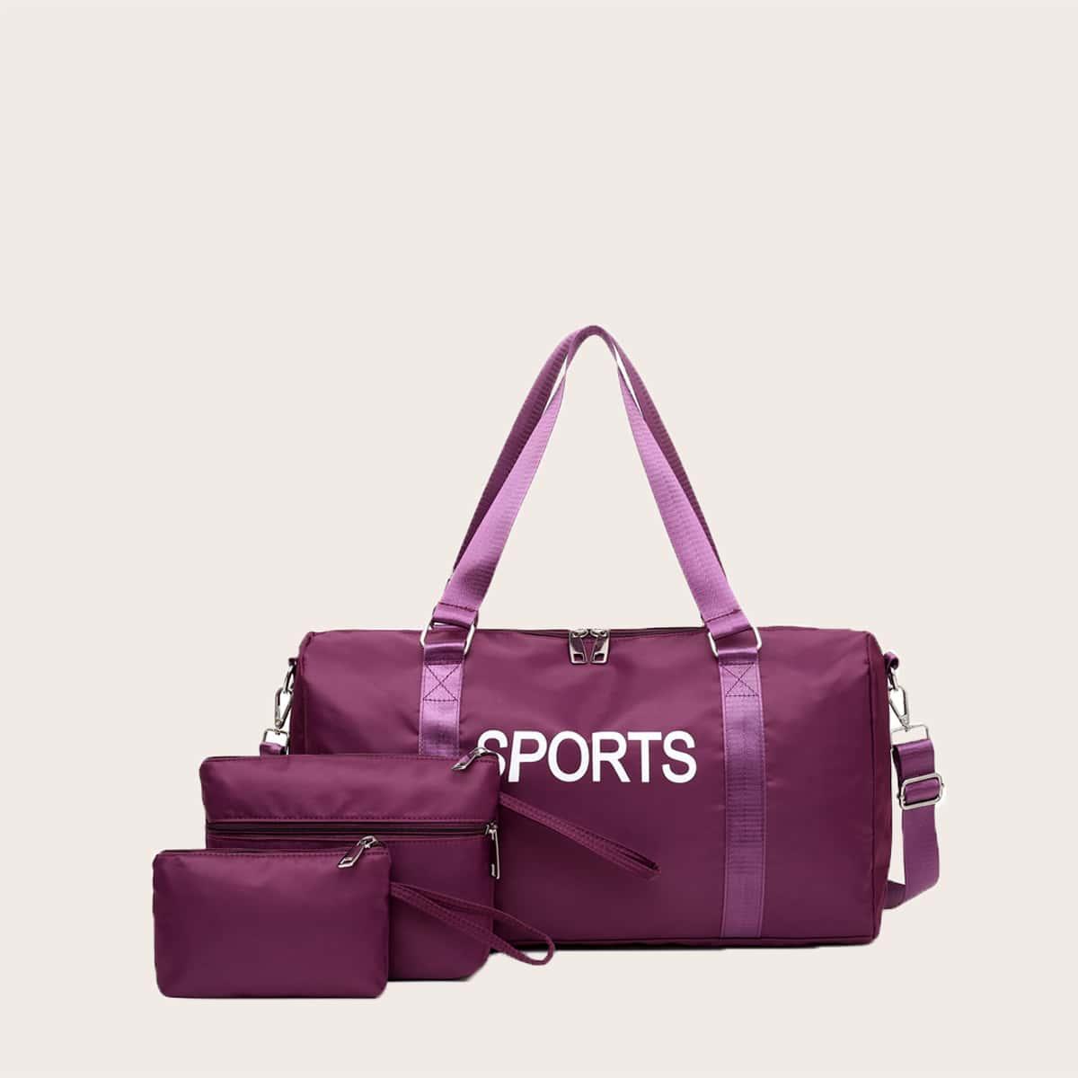 3шт сумка-бочонок с текстовым принтом и сумка-клатч