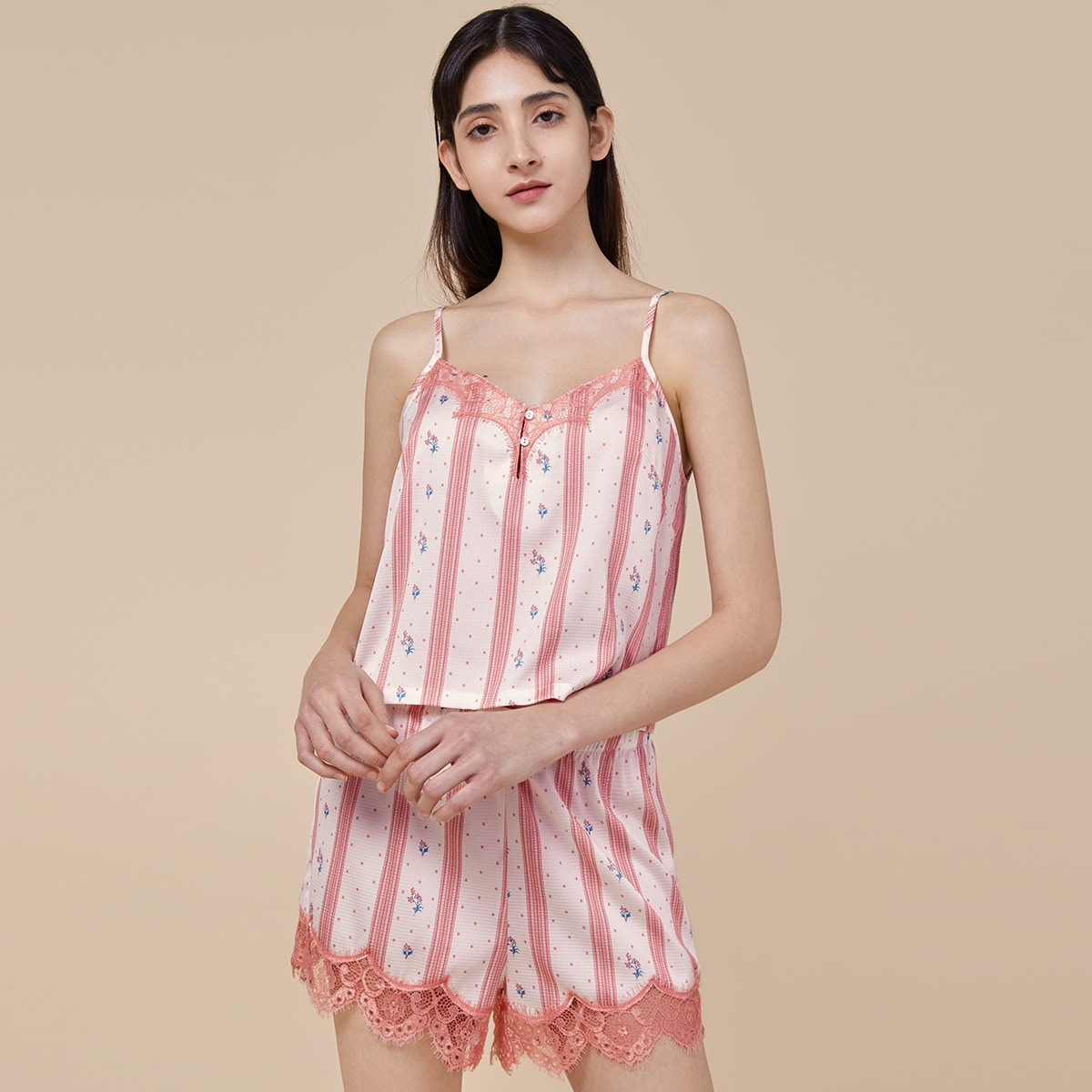 Pjm пижама в горошек с цветочным принтом