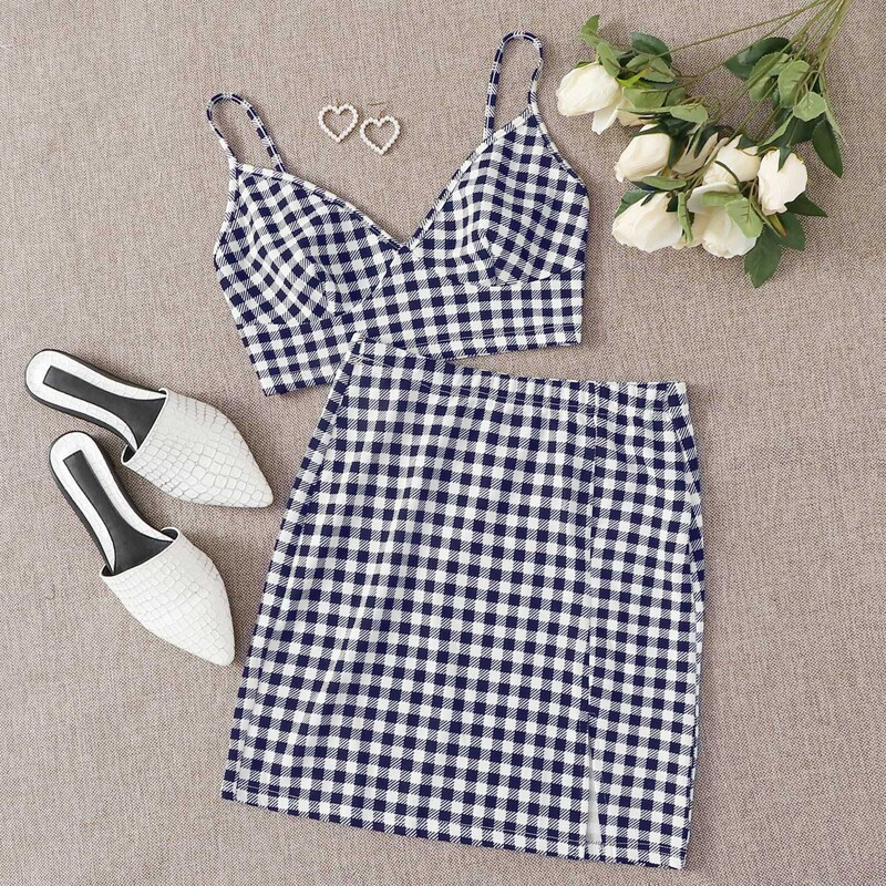 Gingham Bustier Crop Cami Top & Split Hem Skirt Set, Blue and white