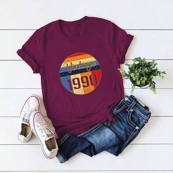 Plus Letter Graphic Short Sleeve Tee, Burgundy