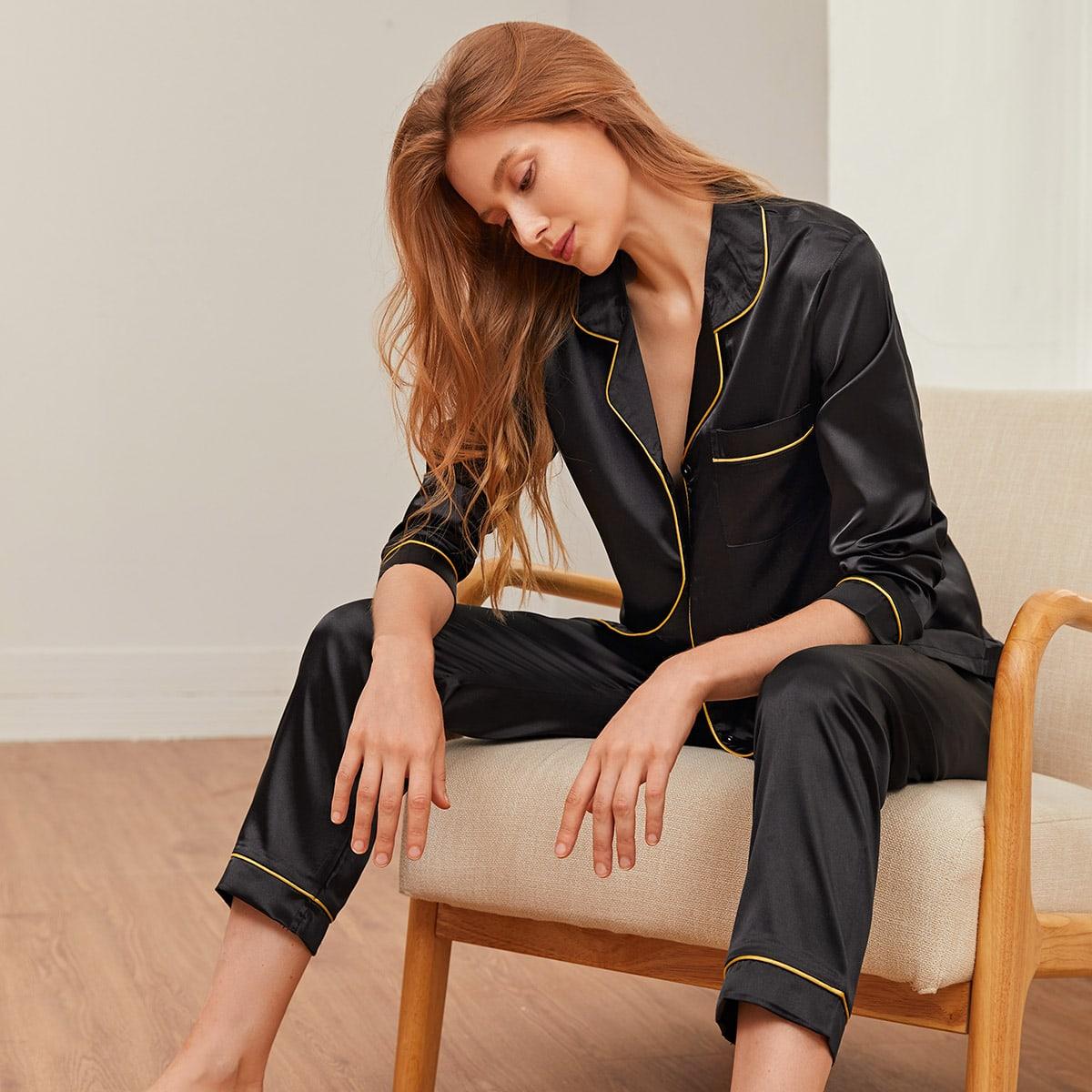 Чёрные с карманами Одноцветный Элегантный Ночная пижама