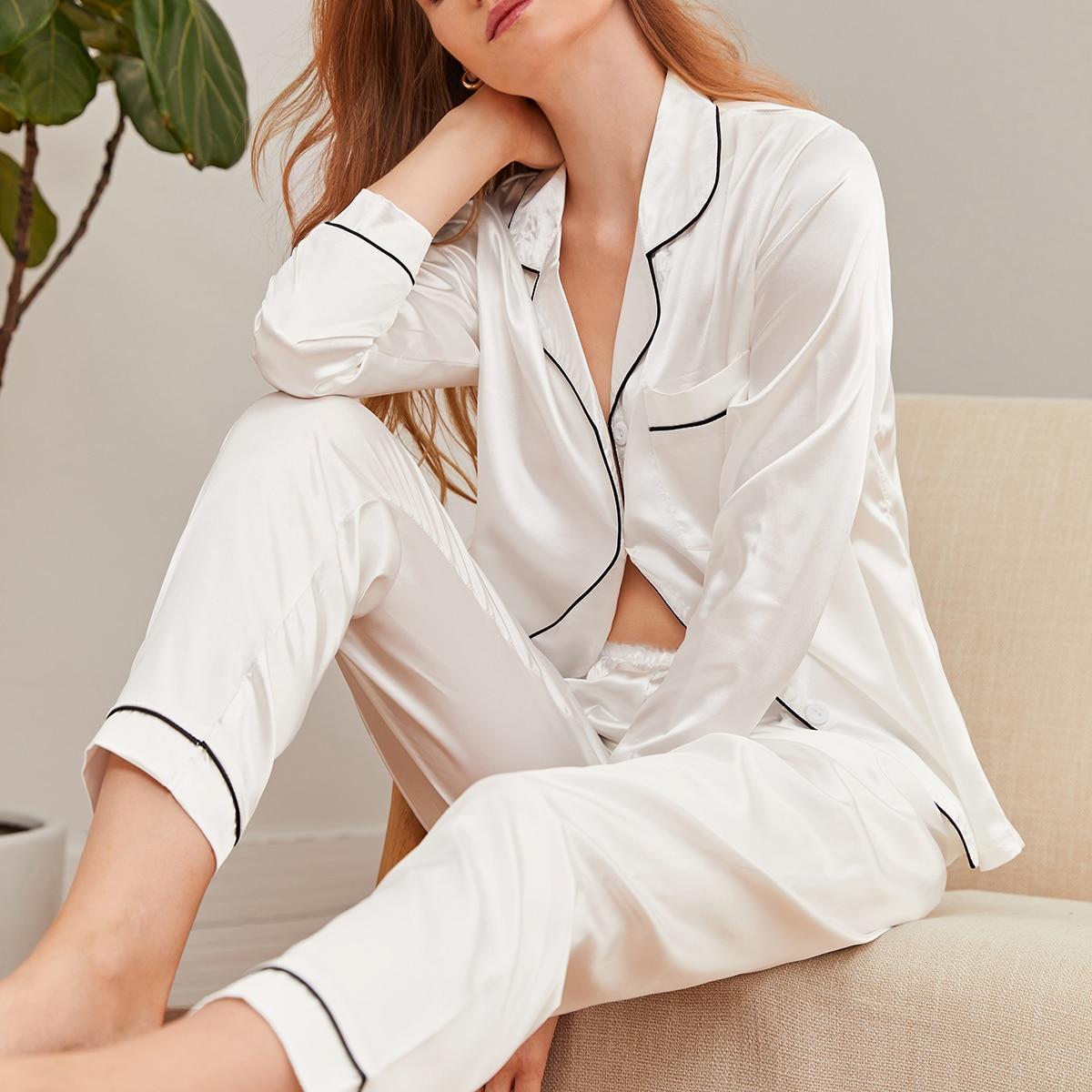 Белый с карманами Одноцветный Элегантный Ночная пижама