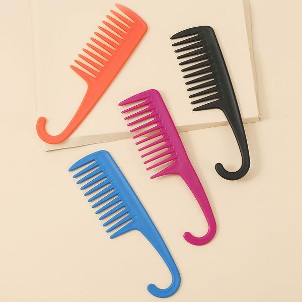 1pc Solid Random Wide Tooth Comb, Multicolor