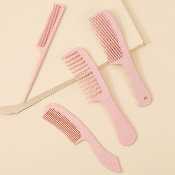 4pcs Solid Hair Comb, Pink