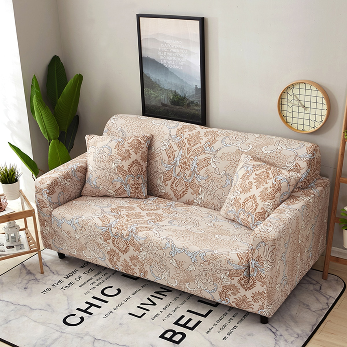 Damask Print Stretchy Sofa Cover Without Cushion