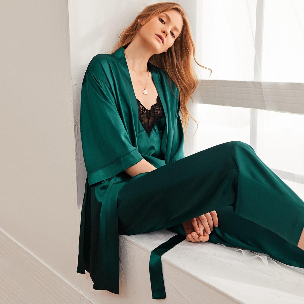 Темно-зеленый с поясом Одноцветный Элегантный Ночной халат