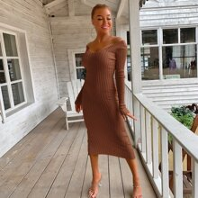 Double V Neckline Rib Knit Dress