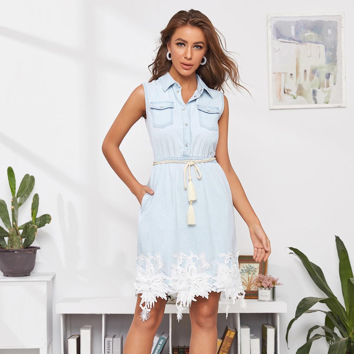 Джинсовое платье с узлом, карманом и цветочной аппликацией