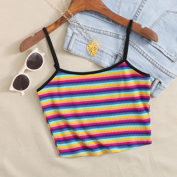 Plus Rib-knit Rainbow Striped Cami Top, Multicolor