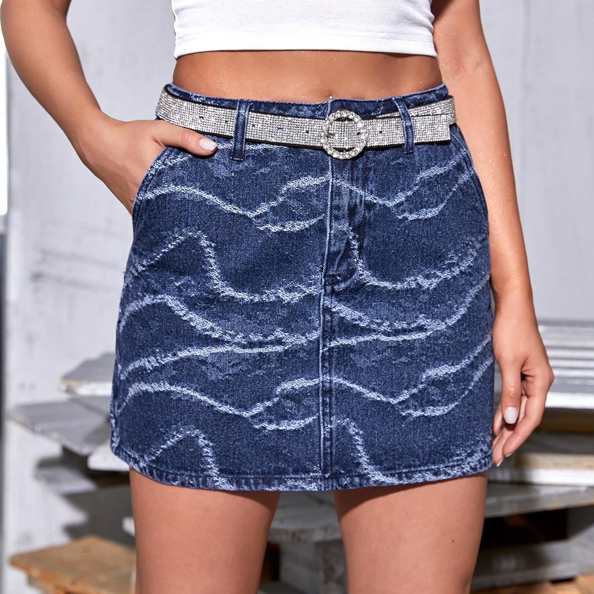 Джинсовая юбка с карманом без пояса