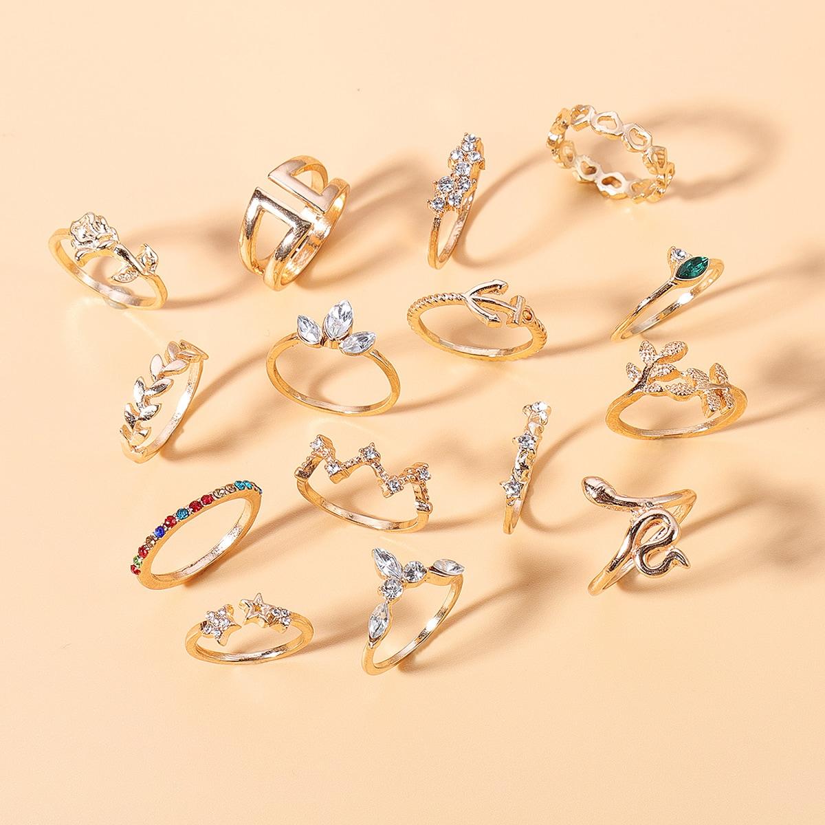 15 piezas anillo grabado con diamante de imitación