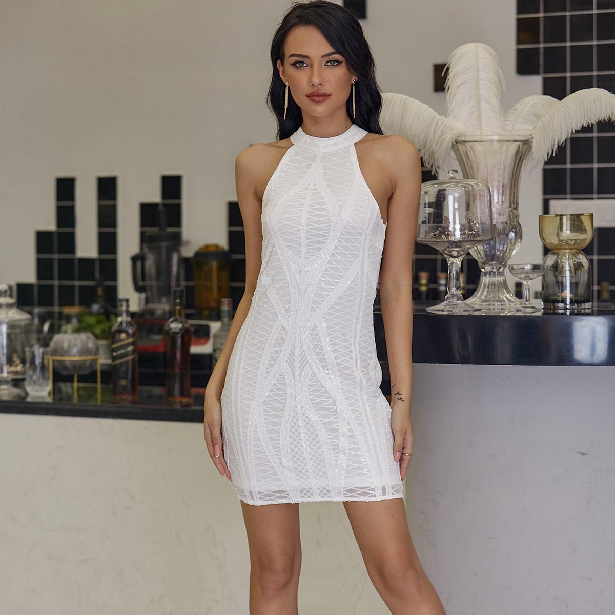 блестящее платье-халтер с молнией сзади