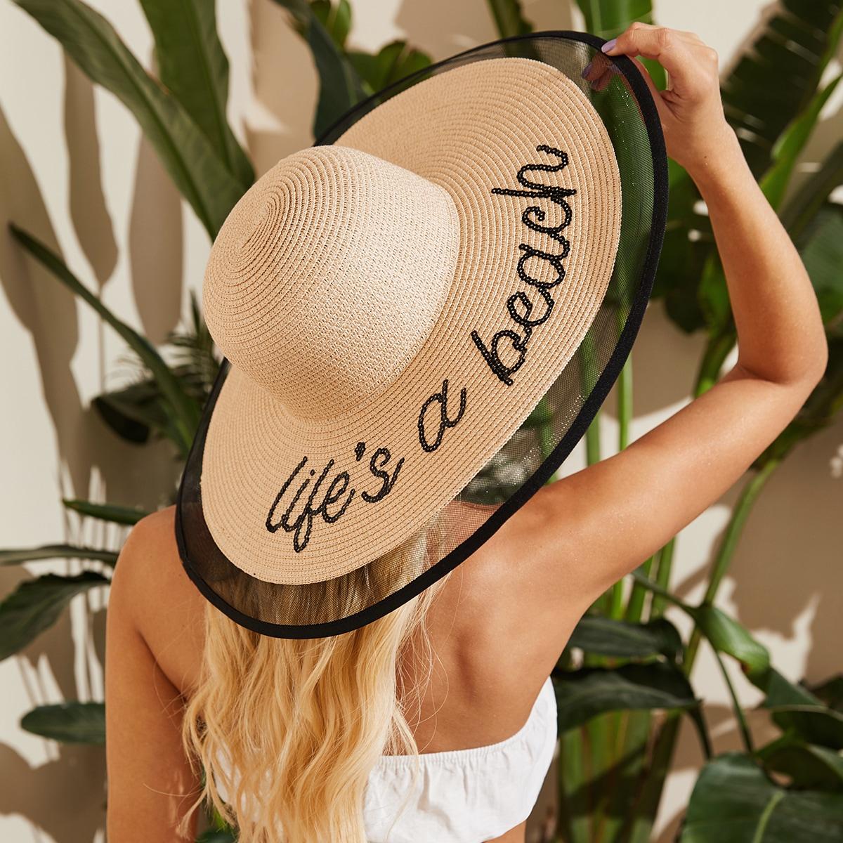 Соломенная шляпа с блестками