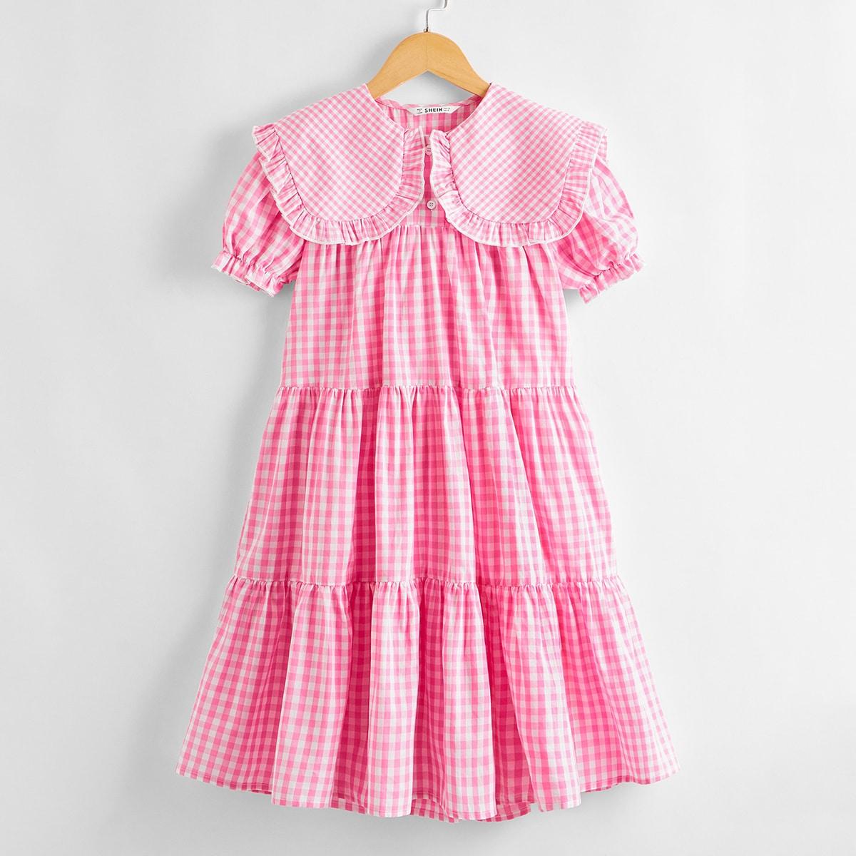 Модное платье в клетку для девочек