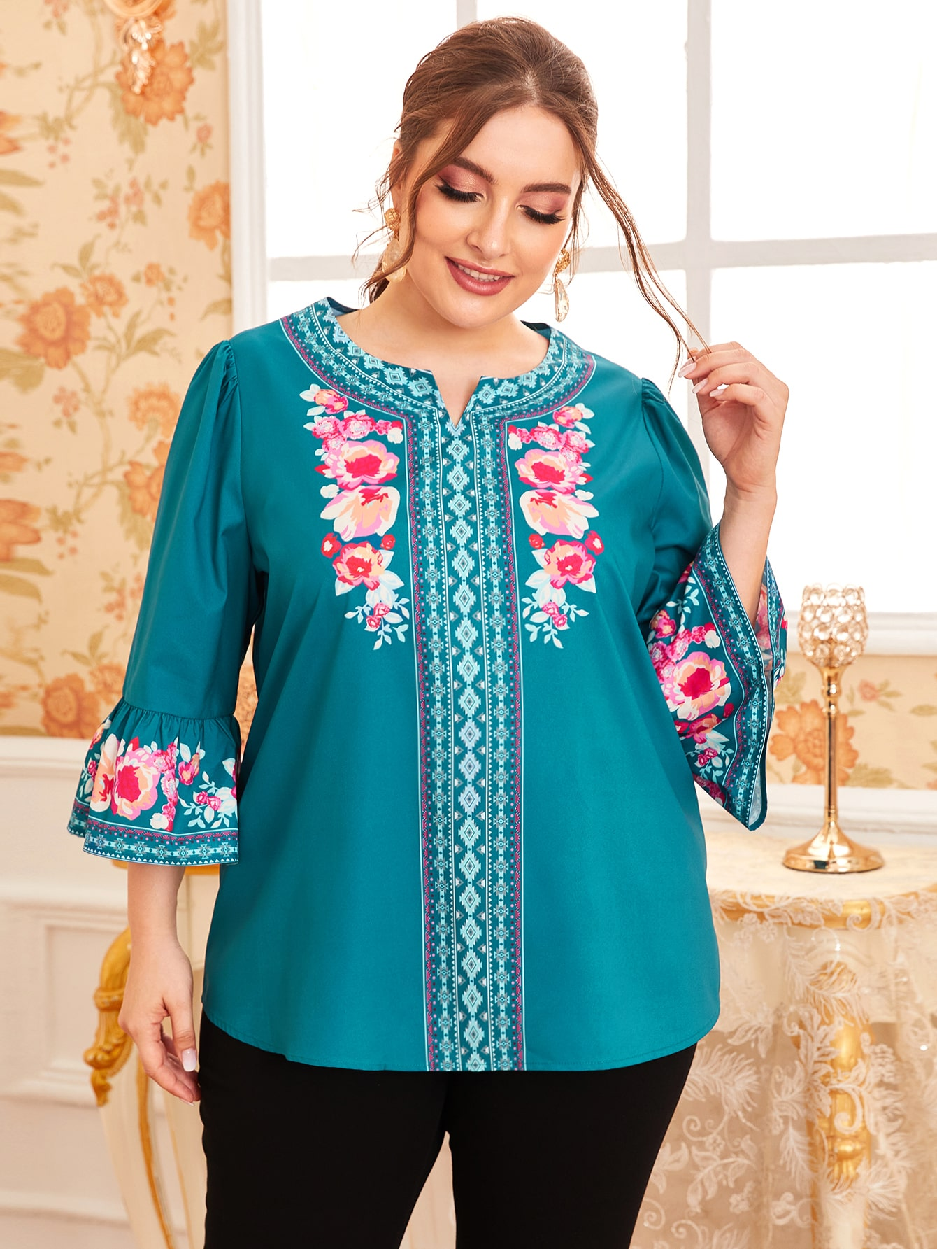 Plus Notch Neck Bell Sleeve Floral and Tribal Top thumbnail