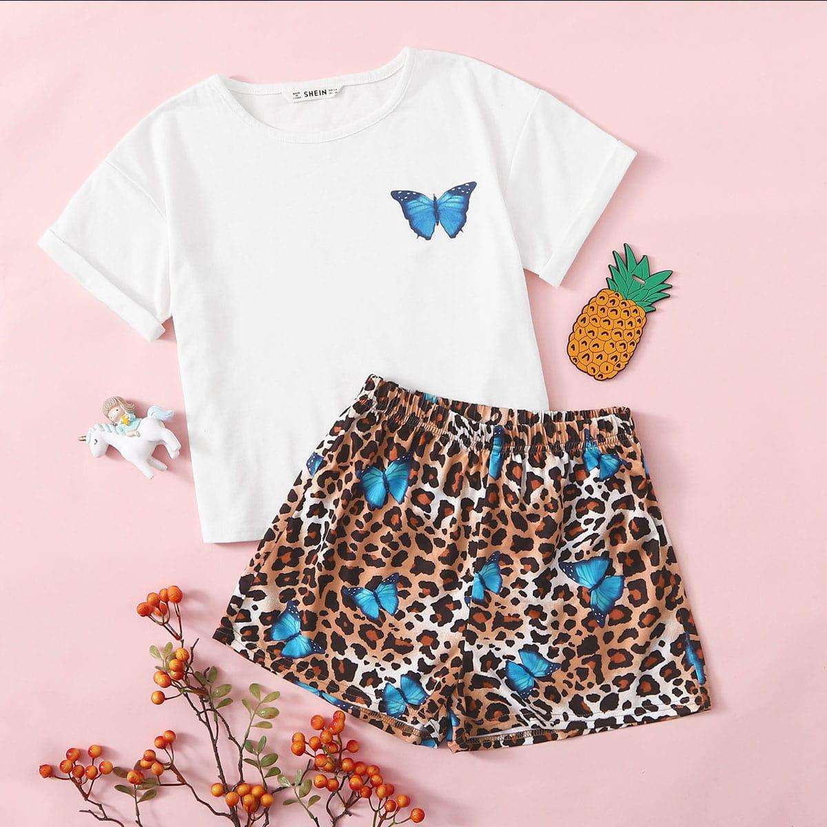 Пижама с леопардовым принтом и бабочкой для девочек