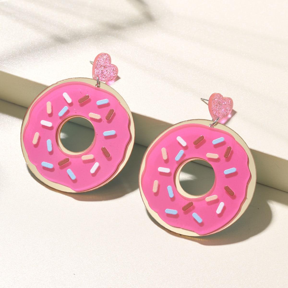 Heart Donut Drop Earrings