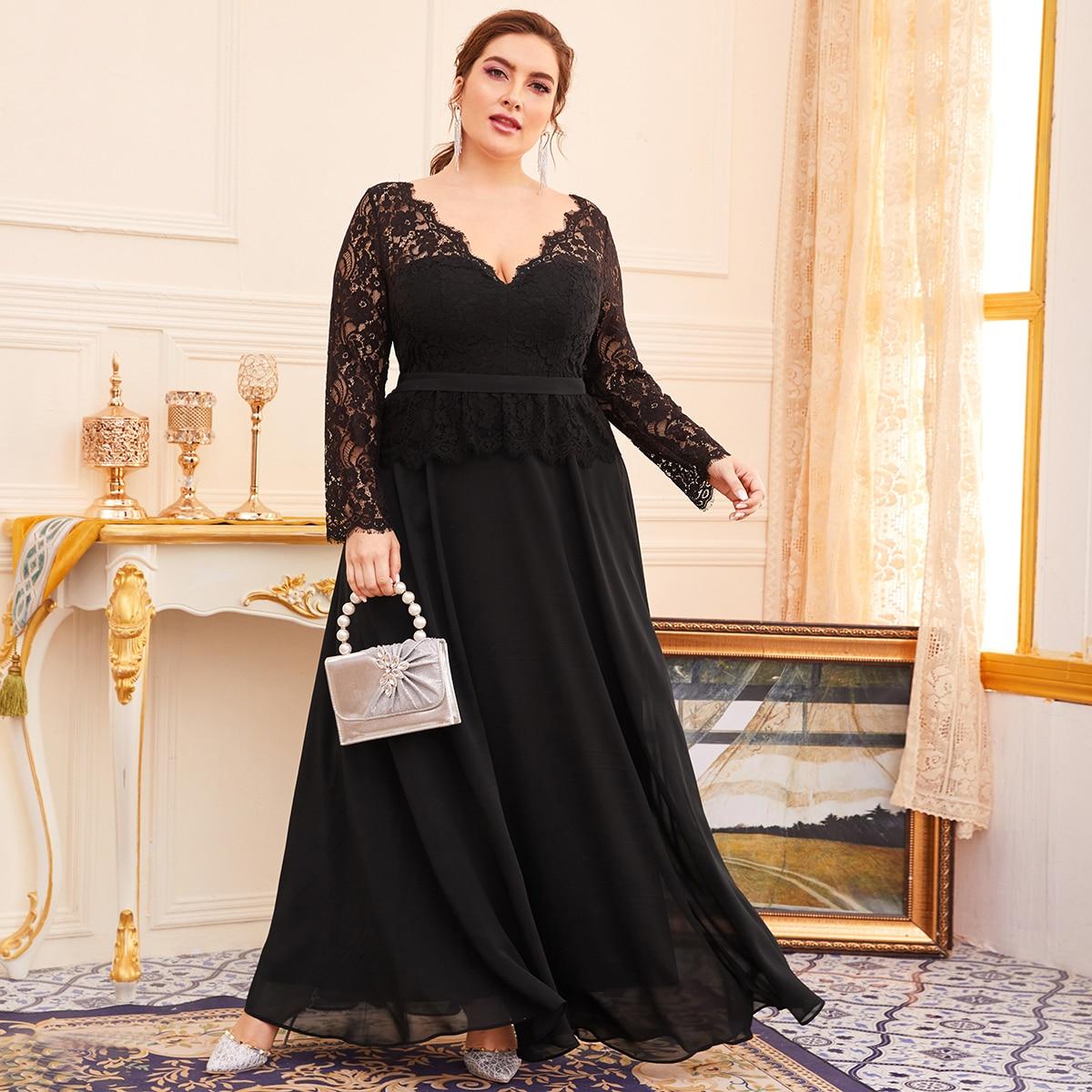 Чёрные Контрастные кружева Одноцветный Элегантный Платья размер плюс