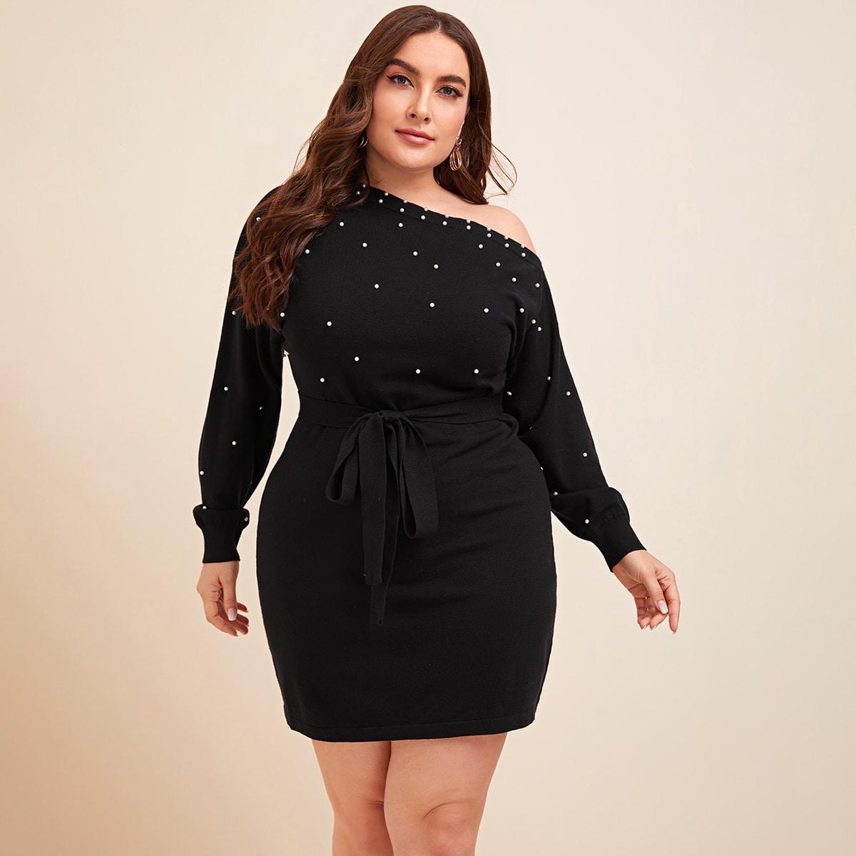 С жемчугом одноцветный элегантный свитер-платье размер плюс