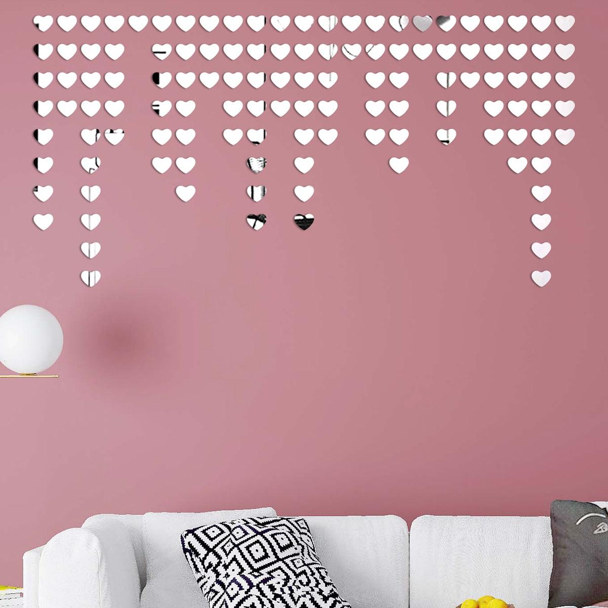 Наклейка на стену с сердечным зеркалом 100шт