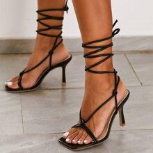 Open Toe Tie Leg Stiletto Heeled Sandals