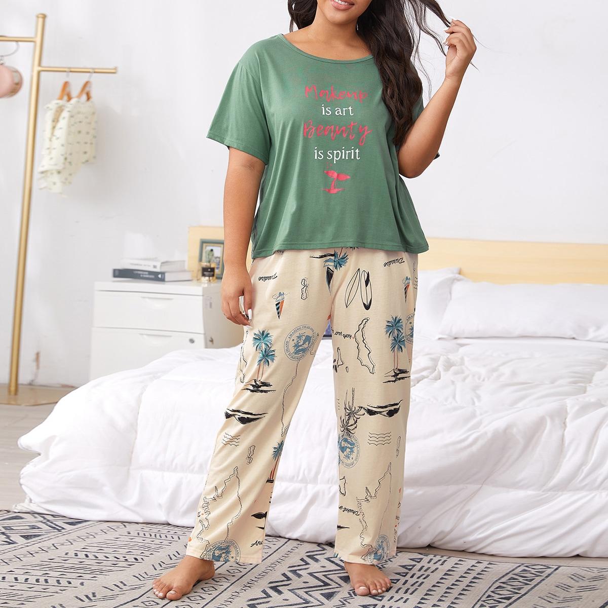 shein Veel kleurig Casual Tropisch Grote maten pyjama sets